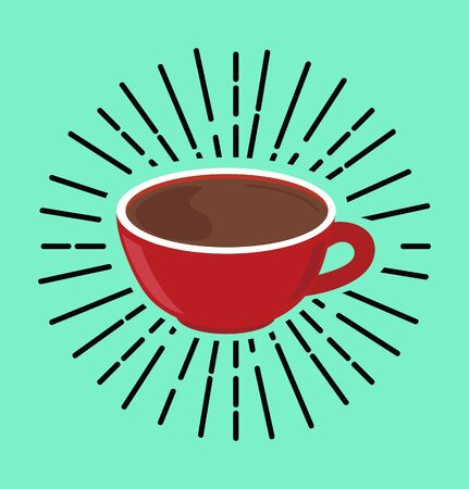red coffee hot cup vector concept