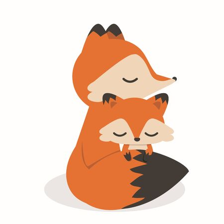 Cute Little Fox Mother And Baby cartoon Illustration