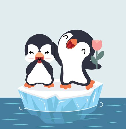 Penguins happy Couple on ice floe vector Stock Illustratie