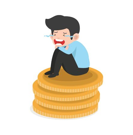 Businessman crying sad on coin Illustration