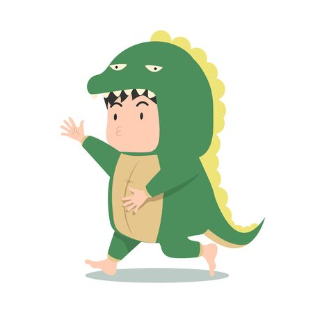 Cute boy in dinosaur costume vector