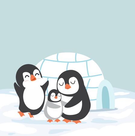 penguins family with Igloo ice house vector Illustration