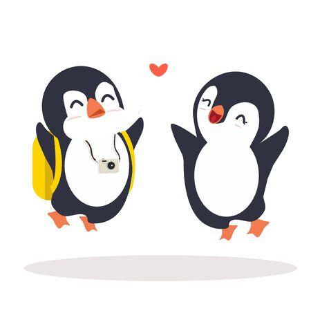 Penguins  jump happy Couple cartoon