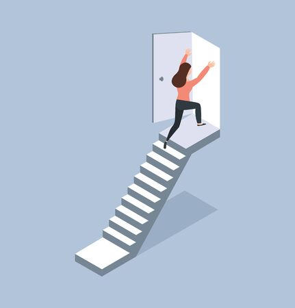 woman walking up staircase to door isometric concept