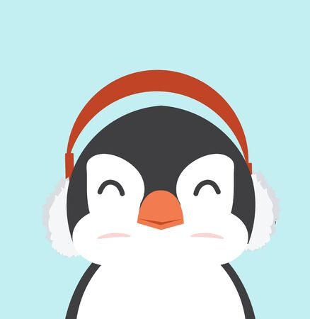 penguin fat with ear muffs vector
