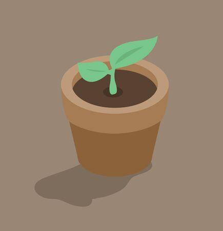 leaf Plant In pot Isometric style background