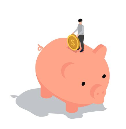 People Characters Standing on piggy bank with coin  Isometric Saving Money