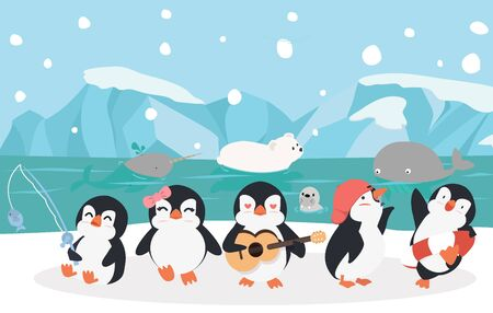 cartoon family penguins with animals North pole  vector Vectores