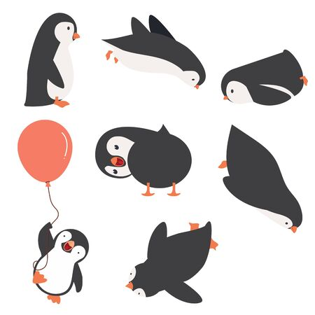 Penguin characters in different poses set vector