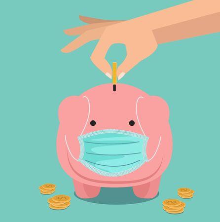 Hand putting coin Piggybank vector savings concept of growth Ilustracje wektorowe