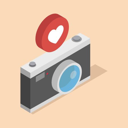 Camera isometric 3d style with notifications on a white background