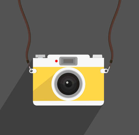 Retro camera in a flat style on a black background Illustration