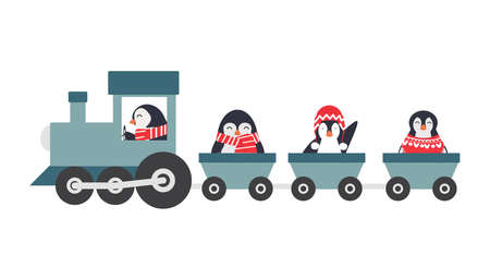 Happy penguin characters in different poses set in train