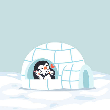 Cute  Penguins happy hug with baby Igloo ice house in winter eps10