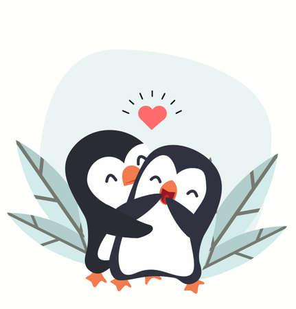 Penguin Couple Love Hugging vector in love Illustration
