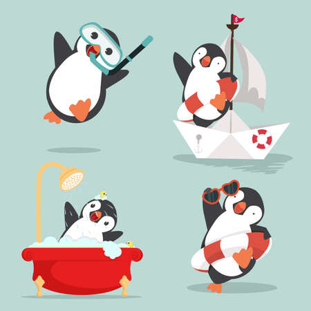 Cute Penguin vector illustration in flat style
