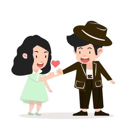 happy couple  promise flat design vector