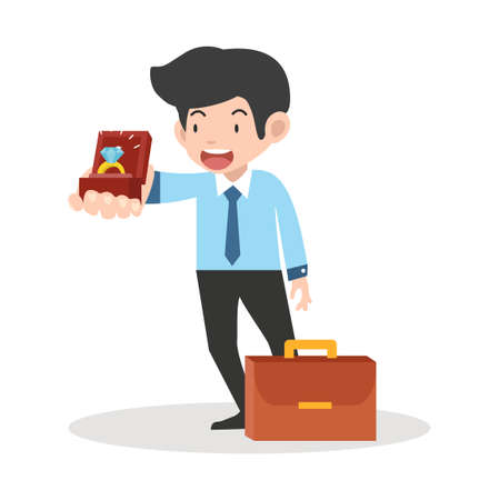 businessman holds a jewelry box vector concept wedding ring.