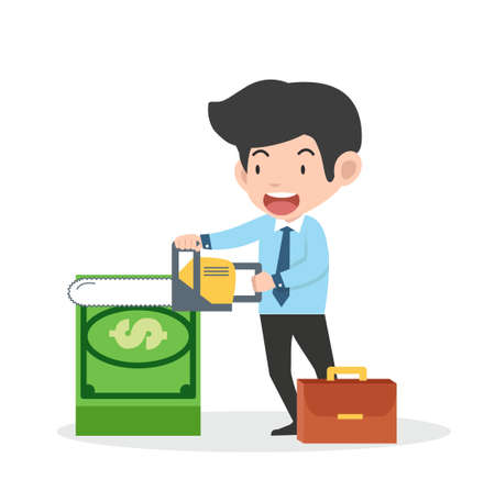 Business man sawing off banknotes  isolated on white background  イラスト・ベクター素材