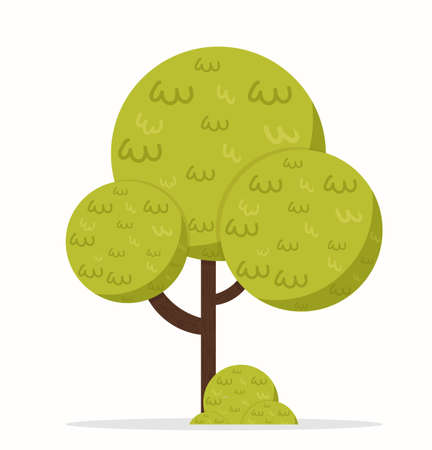 Flat tree icon illustration new cartoon style  イラスト・ベクター素材