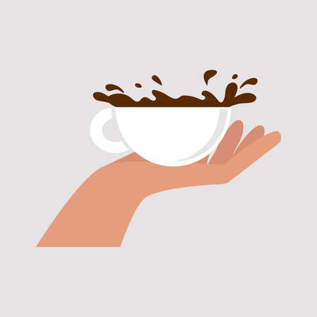 Hand holding a coffee cup vector