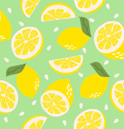 Abstract lemon background Summer seamless pattern 写真素材