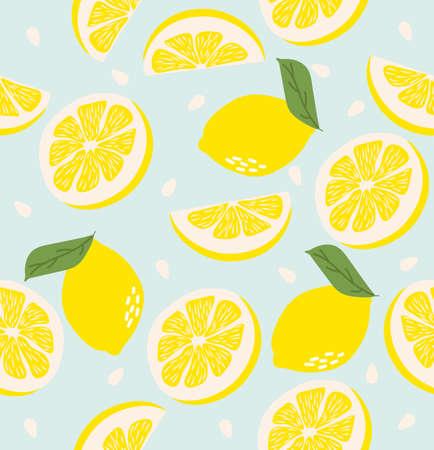 Abstract lemon background Summer seamless pattern Illusztráció