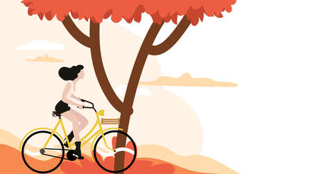 Woman riding bicycles poster template