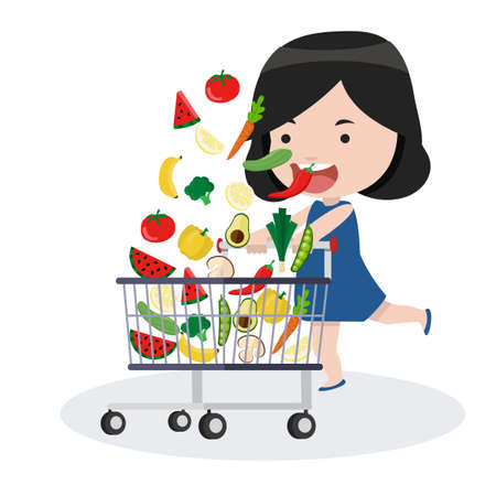girl with shopping cart vector concept  イラスト・ベクター素材