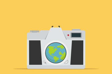View from  camera vector on yellow background