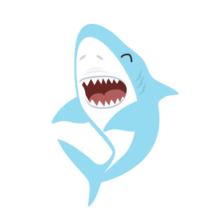 Cute Shark Cartoon Hand Drawn Style  イラスト・ベクター素材