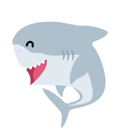 Cute baby shark animal character Flat Design Baby Shark