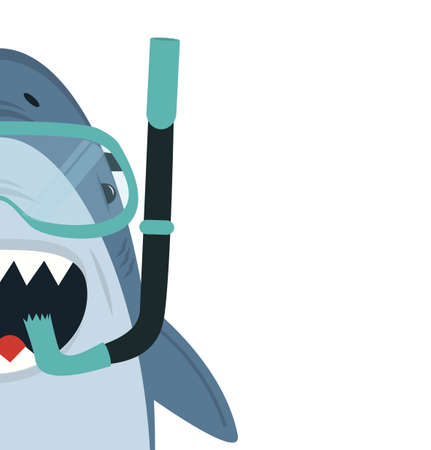 Cute White Shark  with diving equipment vector cartoon