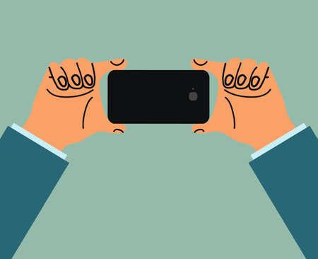 Flat hand holding smartphone