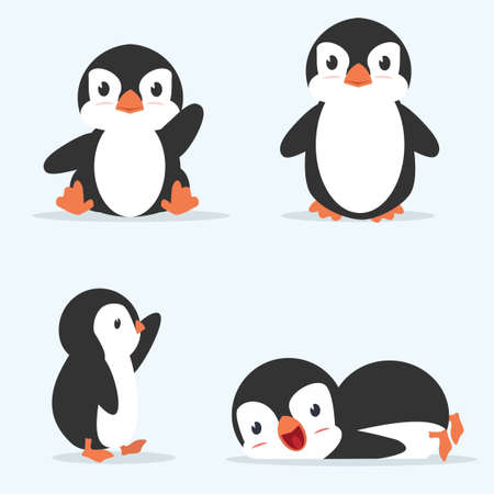 Cute little penguin 4 poses vector cartoon