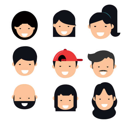 People Avatar Collection head free face  イラスト・ベクター素材