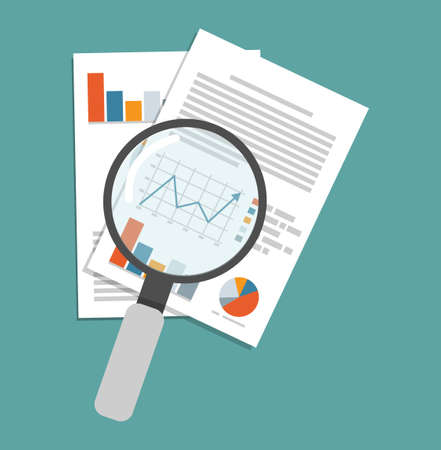 Magnifying glass data analysis flat vector illustration