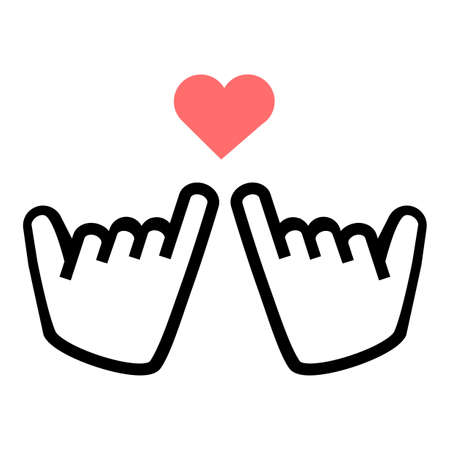 little finger line icon promise with heart vector