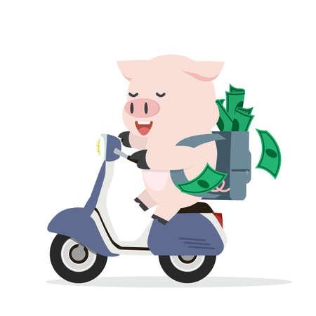 Cute cartoon pig on motorcycle Illusztráció