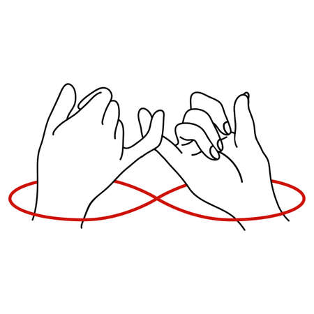 Promise outline with red thread background