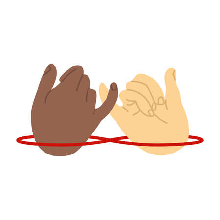 promise hands gesturing with red thread vector