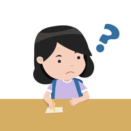 student the girl is thinking vector Illusztráció