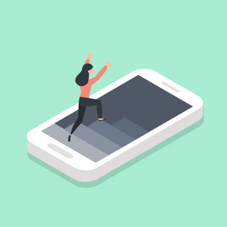 Mobile Phone with woman Isometric vector
