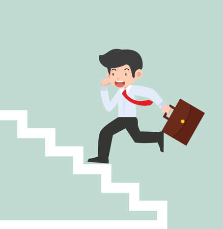 businessman Running Up Stairs Concept cartoon