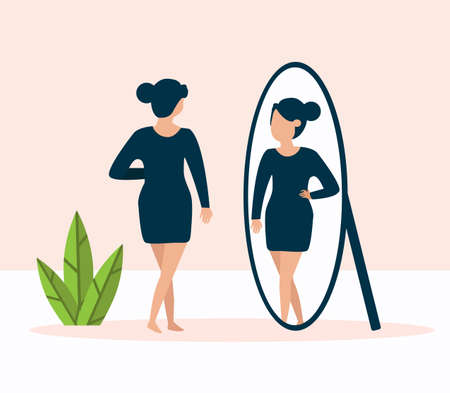 woman standing in front of mirror and looking at reflection looking vector