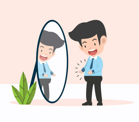 businessman standing in mirror with overweight illustration concept