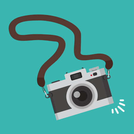 Vintage Old camera with strap vector background