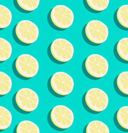 Summer slice of a lemon fruits seamless pattern background Vector Illustratie
