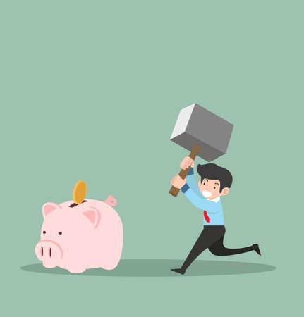businessman hammer breaking piggy bank concept vector