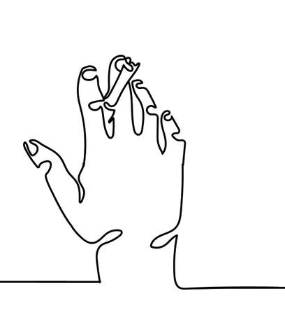 one line hand with Cigarette vector